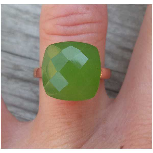 Rose gold plated ring with apple green Chalcedony