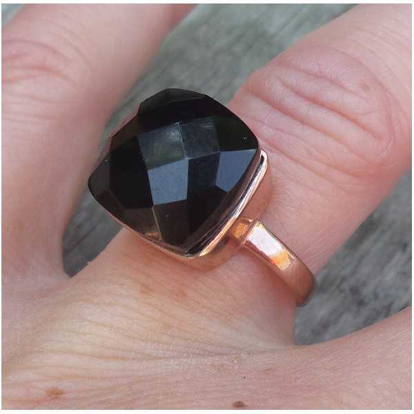 Rosé gold-plated ring set with black Onyx