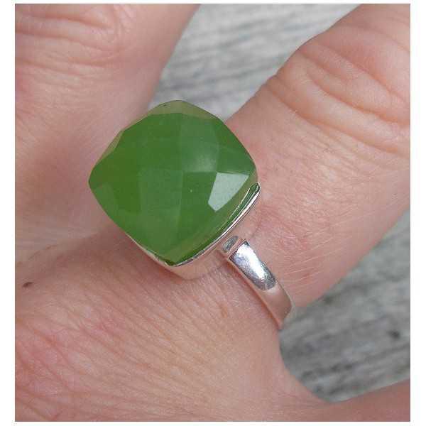 Silber ring set mit apfelgrüner Chalcedon
