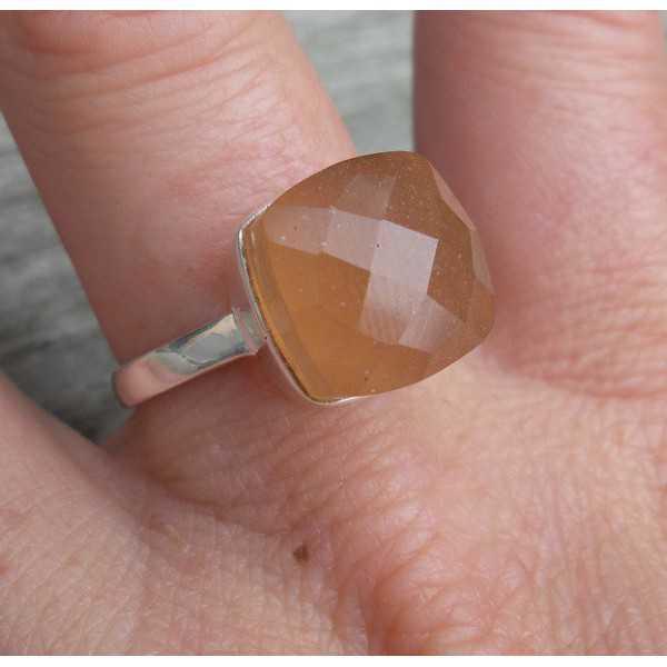 Silber ring set mit Pfirsich-Chalcedon