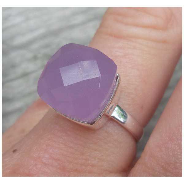 Silber ring set mit einem Lavendel Chalcedon