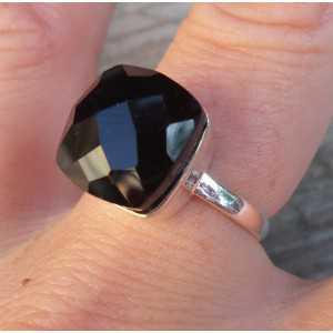 Silber ring set mit quadratischen facettierten schwarzen Onyx