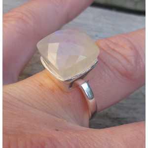 Silber ring set mit quadratischen Facetten-Regenbogen-Mondstein