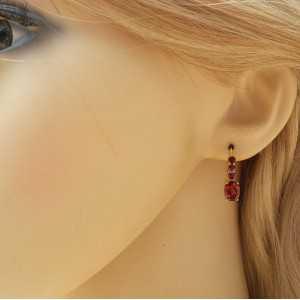 Vergulde oorbellen gezet met vier Granaten