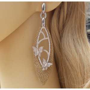 Silver earrings of Roggenleer and set with Zirconia