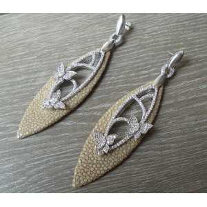 Silber Ohrringe von Roggenleer und mit Zirconia