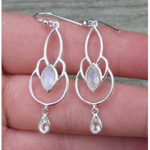 Zilveren oorbellen met druppel en marquise facet Maansteen