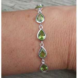 Silber Armband-set mit tropfenförmigen facettierten Peridot