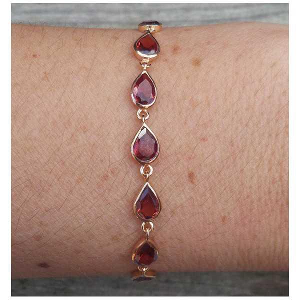 Rosé gold-plated bracelet set with Garnet