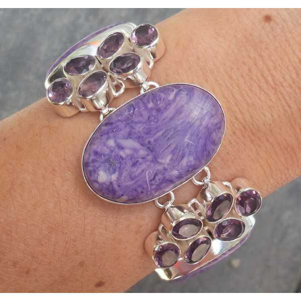 Silber Armband-set mit Charoiet und Amethyst