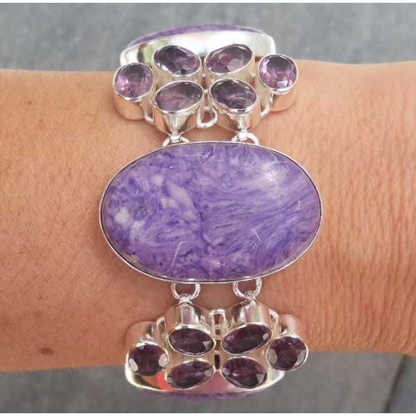 Silver bracelet set with Charoiet and Amethyst