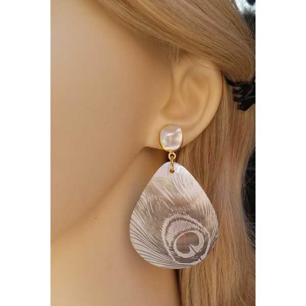 Vergulde oorbellen met Parel en grote shelp