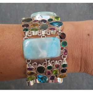 Silver bracelet set with Larimar and multi gems