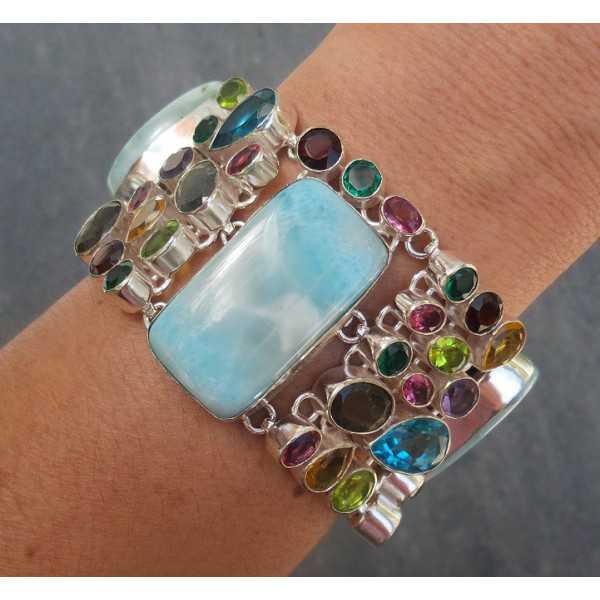 Silber Armband mit Larimar-und multi-Edelsteine