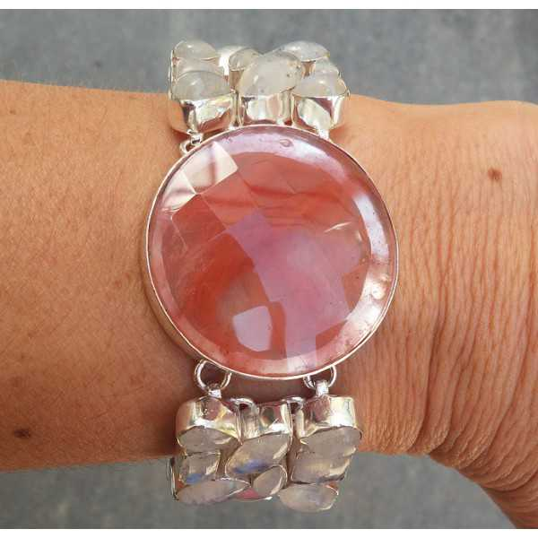 Silver bracelet set with rainbow Moonstone and Cherry quartz