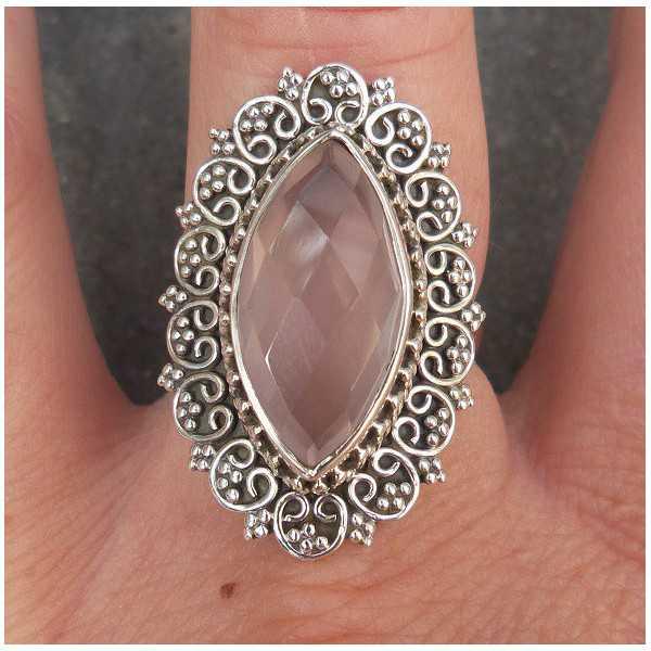 Silber ring marquise Facette rose quartz und geschnitzten Kopf 17.7 mm