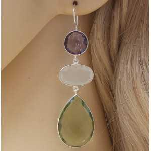 Zilveren oorbellen met Amethist, Maansteen en groene Amethist