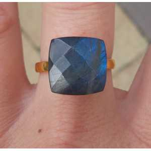 Gold-plated ring set with square Labradorite