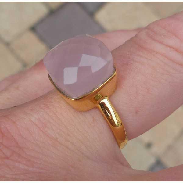 Gold-plated ring-set mit vierkantet rosa Chalcedooon