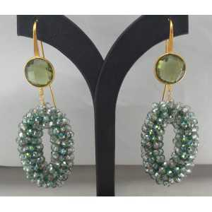 Gold plated earrings pendant crystal and green Amethyst