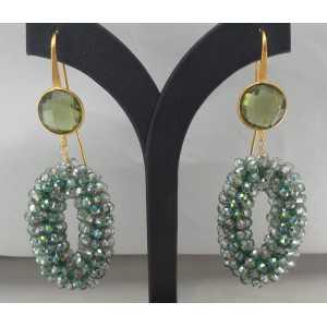 Vergulde oorbellen hanger van kristallen en groene Amethist