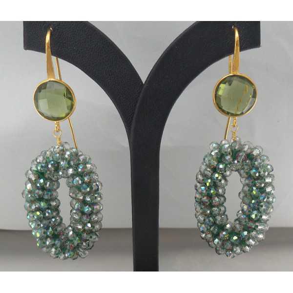 Vergoldete Ohrringe-Anhänger-Kristall-und grünen Amethyst