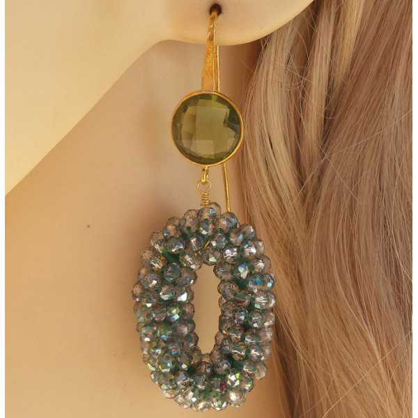 Vergoldete Ohrringe-set mit rund-und Tropfenform Rosenquarz