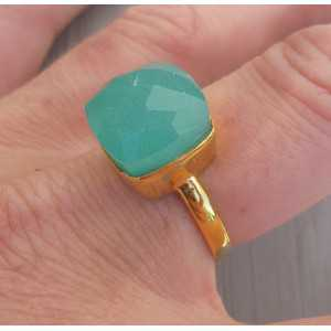 Gold-plated ring set with square aqua Chalcedooon