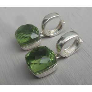 Silber Kreolen-set mit quadratischen grünen Amethyst