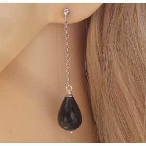 Silber lange Ohrringe mit schwarzen Onyx-briolet
