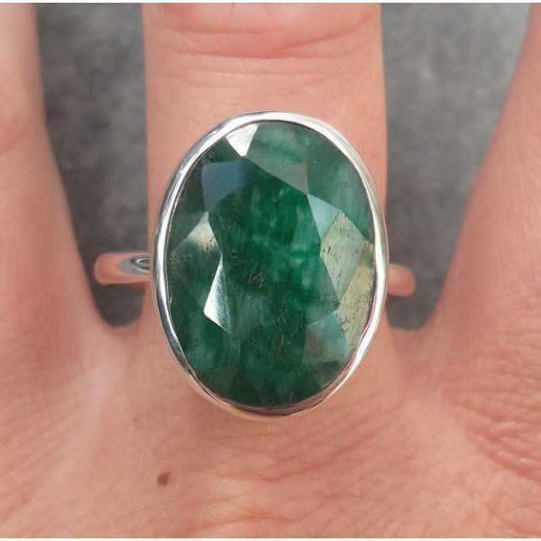 Silber ring set mit ovaler Facette Smaragd-19.7 mm