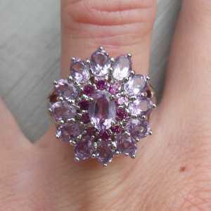 Zilveren ring met Amethist en Rhodoliet Granaat 17.3 of 17.7 mm