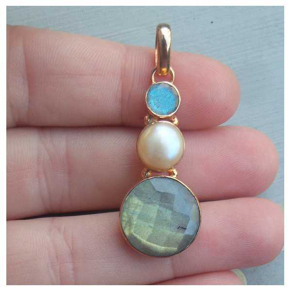 Rosé gold-plated pendant set with Labradorite and Pearl