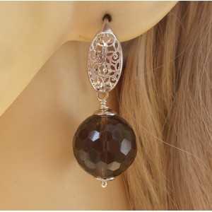 Zilveren oorbellen met grote ronde Smokey Topaas