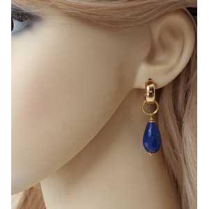 Goud vergulde creolen met Lapis Lazuli briolet