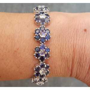 Silber Armband-set mit Ioliet und Regenbogen Mondstein