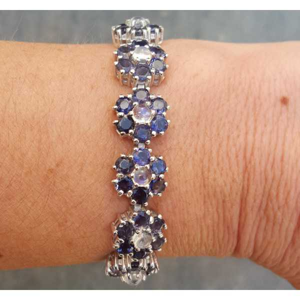 Silver bracelet set with Ioliet and rainbow Moonstone