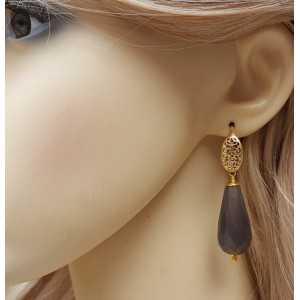Goud vergulde oorbellen met grote grijze Agaat briolet