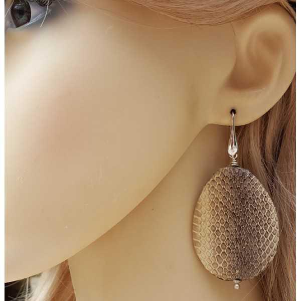 Silber Ohrringe mit großen Tropfen aus Schlangenleder