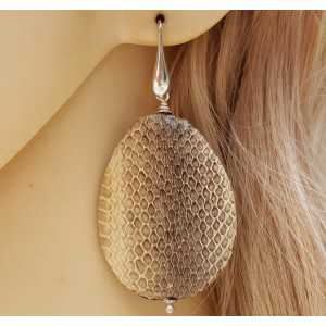 Silver earrings with large drop of snakeskin