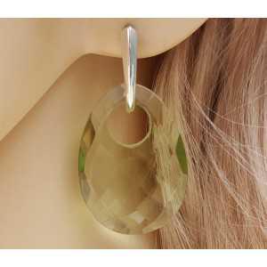 Zilveren oorbellen met ovale hanger van groene Amethist quartz