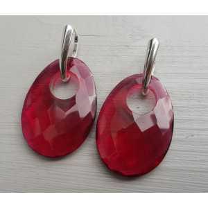 Zilveren oorbellen met ovale hanger van Granaat quartz