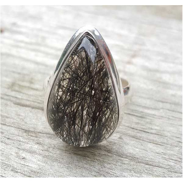 Silber ring set mit teardrop Toermalijnkwarts 18 mm