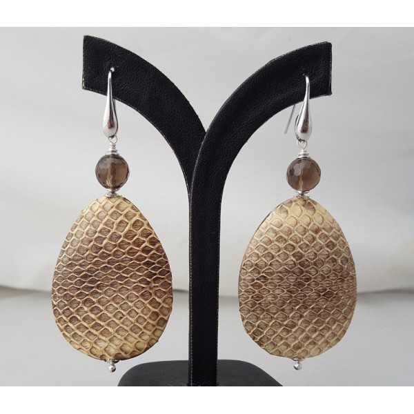 Silver earrings with Smokey Topaz and drop of Snakeskin