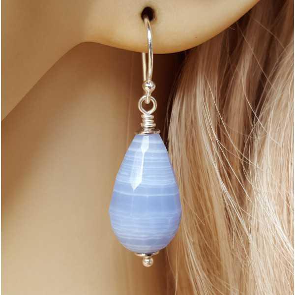 Silber Ohrringe mit Blaue Spitze-Achat-briolet
