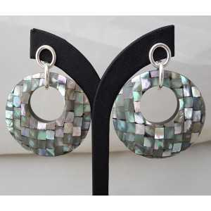 Silver earrings with round pendant of mosaic mother-of-Pearl