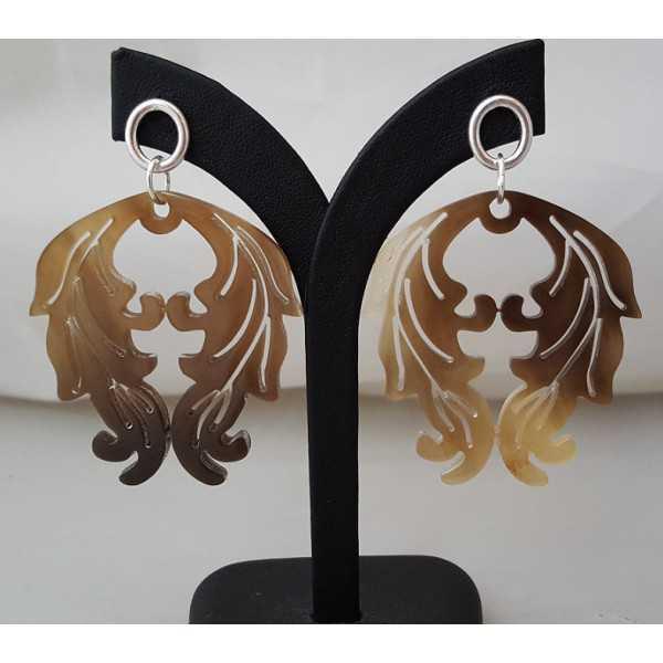 Silver earrings with buffalo horn