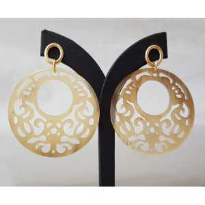 Gold plated earrings with round cut-out buffalo horn