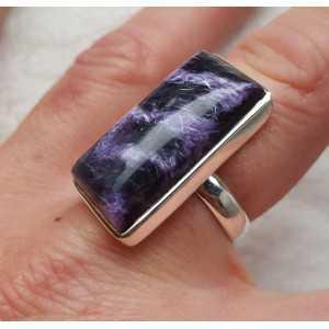 Silber ring set mit rechteckigen Charoiet 18 mm