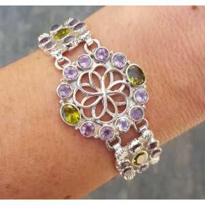 Silber Armband-set mit Facette schneiden Amethisten und Peridot